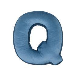 Buchstabenkissen Samt Blau | Q