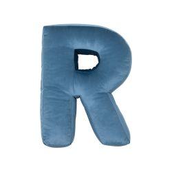 Buchstabenkissen Samt Blau | R