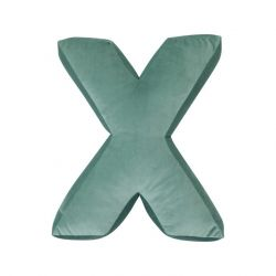 Cushion Letter Velvet Mint | X