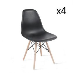 Chaises James Set de 4 | Noir