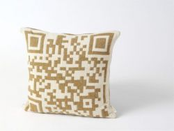 Bar-code 2D Cushion Light Brown