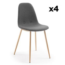 Set of 4 Chairs Lissy | Dark Grey & Light Wood