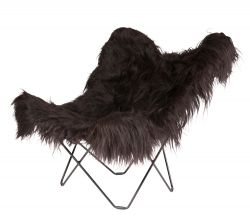 Butterfly Chair Icelandic Sheepskin | Long Black / Black Frame