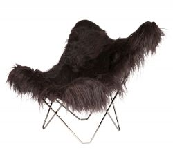 Chaise Papillon Peau d'Islande | Noir Long / Chrome