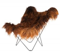 Butterfly Chair Icelandic Sheepskin | Long Brown / Chrome Frame