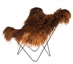 Butterfly Chair Icelandic Sheepskin | Long Brown / Black Frame