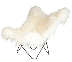 Butterfly Chair Icelandic Sheepskin | Long White / Black Frame