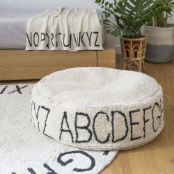 Poef ABC | Zwart & Naturel