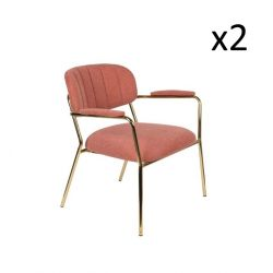 Chair Jolien 3100109 | Set of 2 | Pink & Gold