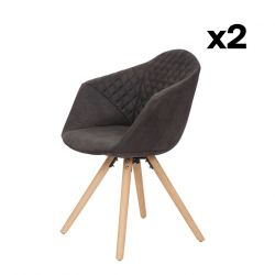 Set of 2 Chairs Luke 222 | Black-Brown