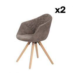 Set of 2 Chairs Luke 222 | Grey-Brown