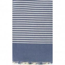 Lurex Beach Fouta | Denim Blue & Silver