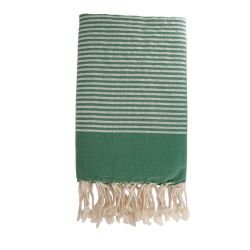 Lurex Beach Fouta | Forest Green & Silver