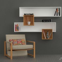Salad Wall Shelves White & Walnut
