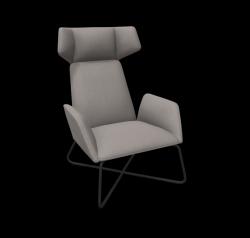 Armchair Manta Club Cross Legs / High Back (Z) | Grey