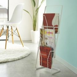 Magazine Stand 4 Folders Tower | White
