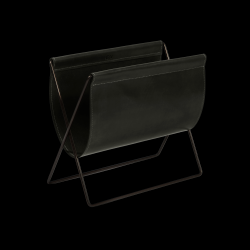 Magazine Rack Maggiz | Black Leather & Black Steel