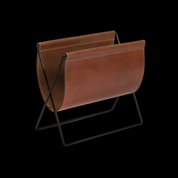 Magazine Rack Maggiz | Cognac Leather & Black Steel