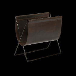Magazine Rack Maggiz | Mocca Leather & Black Steel