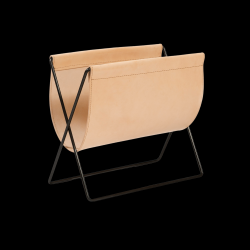 Magazine Rack Maggiz | Nature Leather & Black Steel