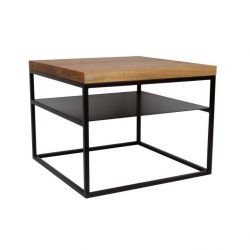Malmo Side Table With Shelf | Oak + Black Base