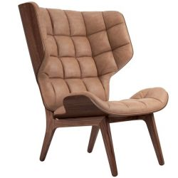 Armchair Mammoth | Leather Seat | Dark Stained Frame | Brown