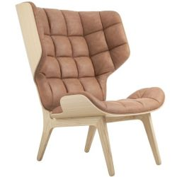 Armchair Mammoth | Leather Seat | Natural Frame | Brown