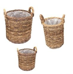 Mandjes Abaca Set van 3 | Naturel