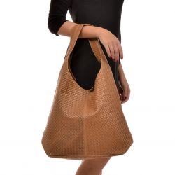 Leather Shopper Bag | Cognac