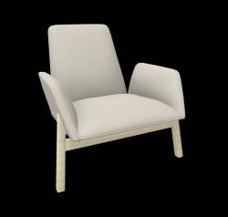 Armchair Manta Club Wooden Legs / Low Back | Beige