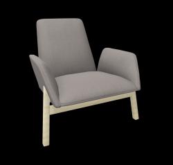 Armchair Manta Club Wooden Legs / Low Back | Grey