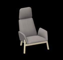 Armchair Manta Club Wooden Legs / High Back | Grey