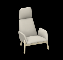 Armchair Manta Club Wooden Legs / High Back | Beige