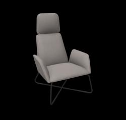 Armchair Manta Club Cross Legs / High Back | Grey