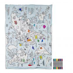 Housse de Couette Carte du Monde 172 x 218 cm