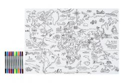 World Map Wrapping Paper & 10 Pens