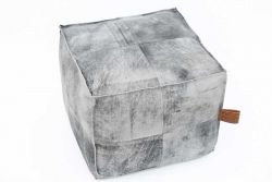 Hudson Square Marble leather Pouf