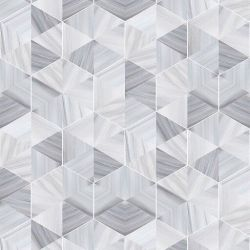 Wallpaper Marble Hexagon | Silver Grey