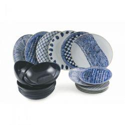 Vaisselle Masai Set de 18 | Bleu