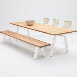 Outdoor Dining Table Matteo | Teak / White