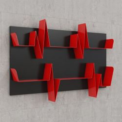 Battikuore Shelves Medium Black/Red - 2 Shelves