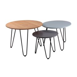 Table basse Nero Set de 3 | Chêne/Bleu/Gris