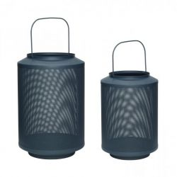 Set of 2 Metal Lanterns | Green