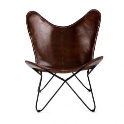 Butterfly Chair Iron Leather Seat Montreux | Black & Brown