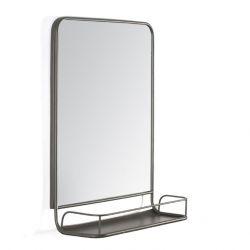 Miroir Mural avec Etagère Moselle | Gris