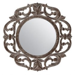 Carved Mirror Alba | Grey