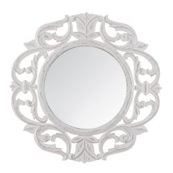 Carved Mirror Alba | White