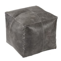 Pouf Harper Leather | Grey