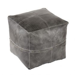 Pouf Langley Leather | Grey