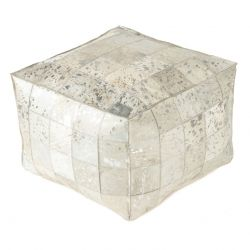 Pouf Carrie Genuine Hair On 50 x 36 cm | Silver Foil